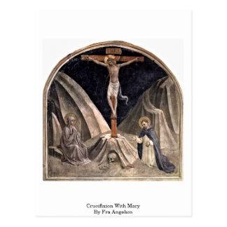 Cartão Postal Crucificação com a Mary por Fra Angelico