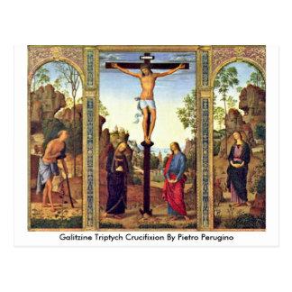 Cartão Postal Crucificação do Triptych de Galitzine por Pietro