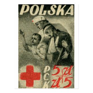 Cartão Postal Cruz 1947 vermelha polonesa