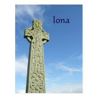 Cartão Postal Cruz celta de Scotland da abadia de Iona