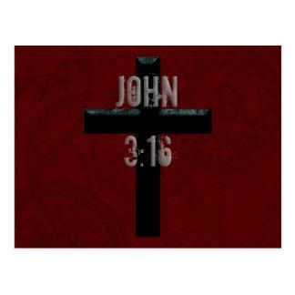 Cartão Postal Cruz do cristão do 3:16 de John