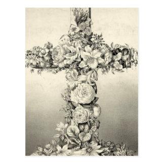 Cartão Postal Cruz floral cristã da páscoa do vintage