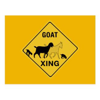 Cartão Postal Cruzamento da cabra, sinal de aviso do tráfego,