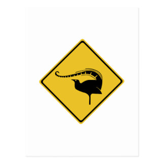 Cartão Postal Cruzamento do Lyrebird, sinal de aviso do tráfego,
