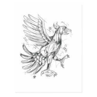 Cartão Postal Cuauhtli Glifo Eagle que luta o tatuagem da