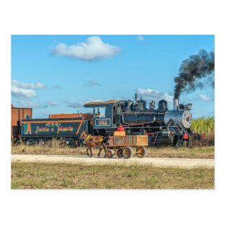 Cartão Postal Cuba. Tráfego da plantação do açúcar