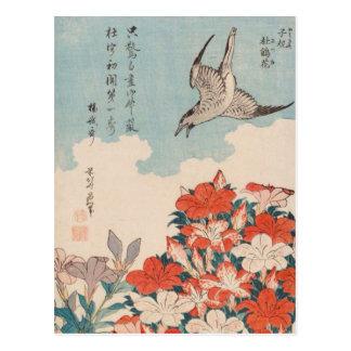 Cartão Postal Cuco de Hokusai e vintage GalleryHD das azáleas