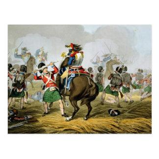 Cartão Postal Cuirassiers franceses na batalha de Waterloo,