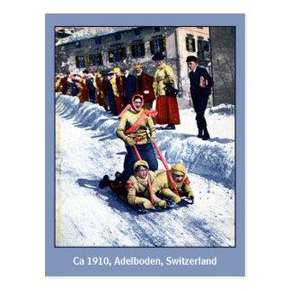 Cartão Postal Cumes da raça do trenó dos esportes de inverno dos