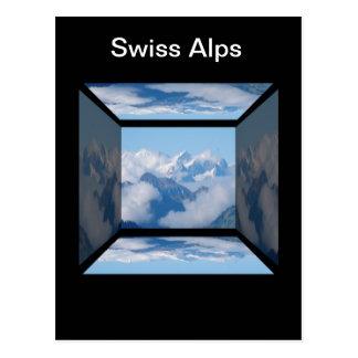Cartão Postal Cumes suíços com as nuvens por Celeste Sheffey