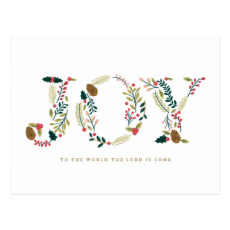 Cartão Postal Cumprimento botânico do Natal da alegria