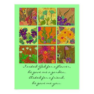 Cartão Postal cumprimento da amizade do jardim