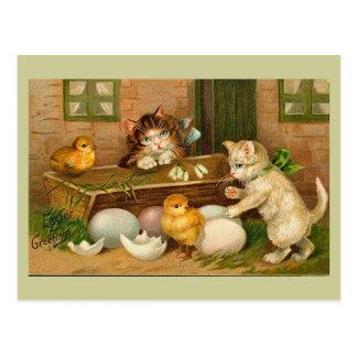 Cartão Postal Cumprimento da páscoa do vintage dos gatinhos e