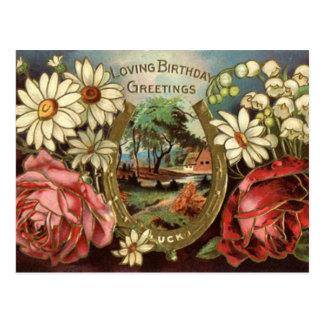 Cartão Postal Cumprimento do aniversário com rosas