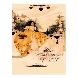 Cartão Postal Cumprimentos antiquados dos namorados do vintage