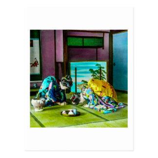Cartão Postal Cumprimentos da gueixa do vintage sobre o chá