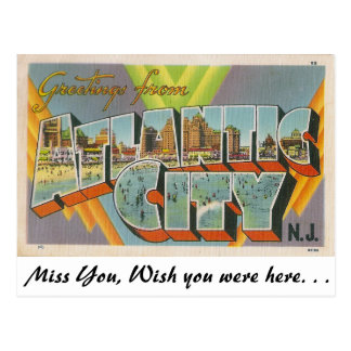 Cartão Postal Cumprimentos de Atlantic City, New-jersey