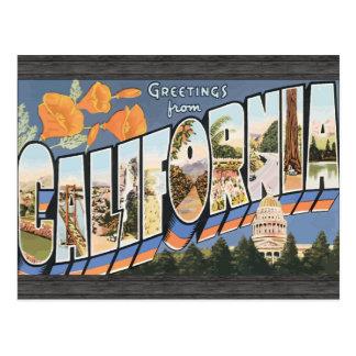 Cartão Postal Cumprimentos de Califórnia, vintage