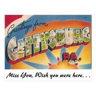 Cartão Postal Cumprimentos de Gettysburg, Pensilvânia