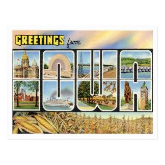 Cartão Postal Cumprimentos de Iowa dos estados de E.U.