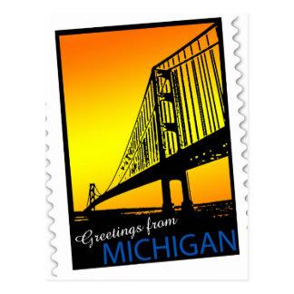 Cartão Postal Cumprimentos de Mackinac Brige de Michigan!