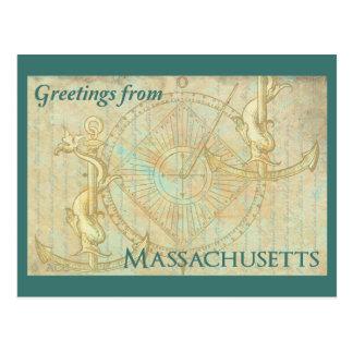 Cartão Postal Cumprimentos de Massachusetts