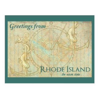 Cartão Postal Cumprimentos de Rhode - ilha o estado do oceano