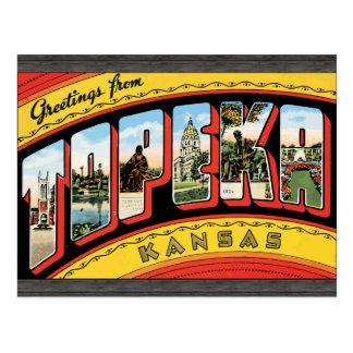 Cartão Postal Cumprimentos de Topeka Kansas, vintage