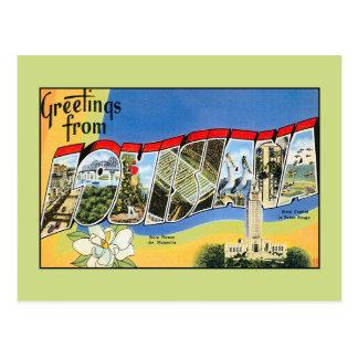 Cartão Postal Cumprimentos do vintage de Louisiana
