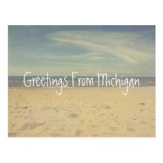 Cartão Postal Cumprimentos dos Sandy Beach do Lago Michigan