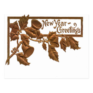 Cartão Postal Cumprimentos dourados do ano novo do azevinho do