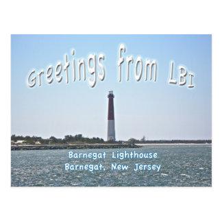 Cartão Postal Cumprimentos LBI do farol de Barnegat (discussão