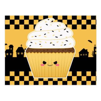 Cartão Postal Cupcake bonito de Kawaii o Dia das Bruxas