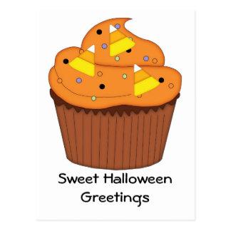 Cartão Postal Cupcake doce do Dia das Bruxas
