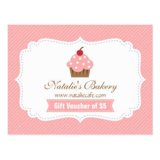 Cartão Postal Cupcake elegante, moderno, cor-de-rosa,