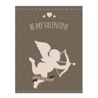 Cartão Postal Cupido bonito romântico do dia dos namorados