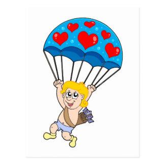 Cartão Postal Cupido do pára-quedas