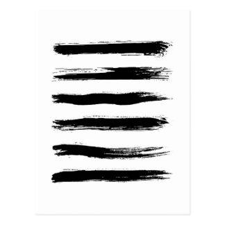 Cartão Postal Cursos pretos & brancos minimalistas da escova