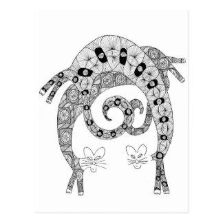 Cartão Postal curvatura do gato