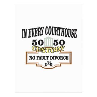 Cartão Postal custódia 50 50 em cada tribunal