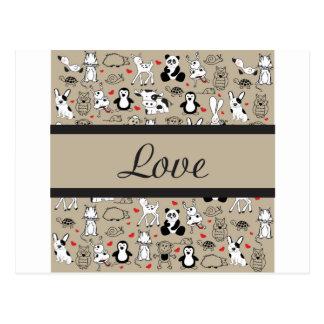 Cartão Postal Cuteness animal do amor