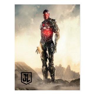 Cartão Postal Cyborg da liga de justiça | no campo de batalha