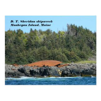 Cartão Postal D.T. Ilha de Monhegan do shipwreck de Sheridan MIM