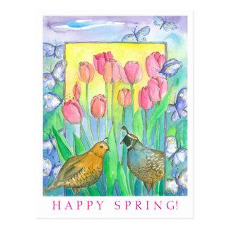 Cartão Postal Da aguarela cor-de-rosa da tulipa dos pássaros das