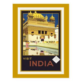 """Cartão Postal Da """"cartão do poster das viagens vintage de India"""