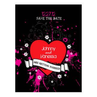Cartão Postal Da música suja do coração do preto & do rosa