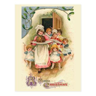 """Cartão Postal Da """"natal vintage do banquete família"""""""