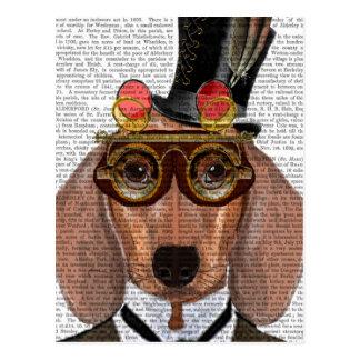 Cartão Postal Dachshund com chapéu alto e óculos de proteção