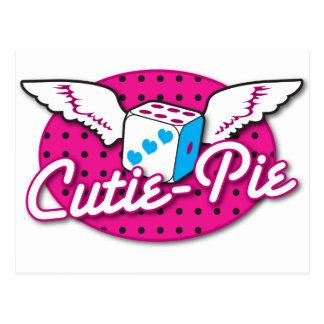 Cartão Postal Dados bonitos rockabilly da Cutie-Torta com asas