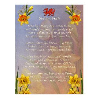 Cartão Postal Daffodil de Sospan Fach decorado